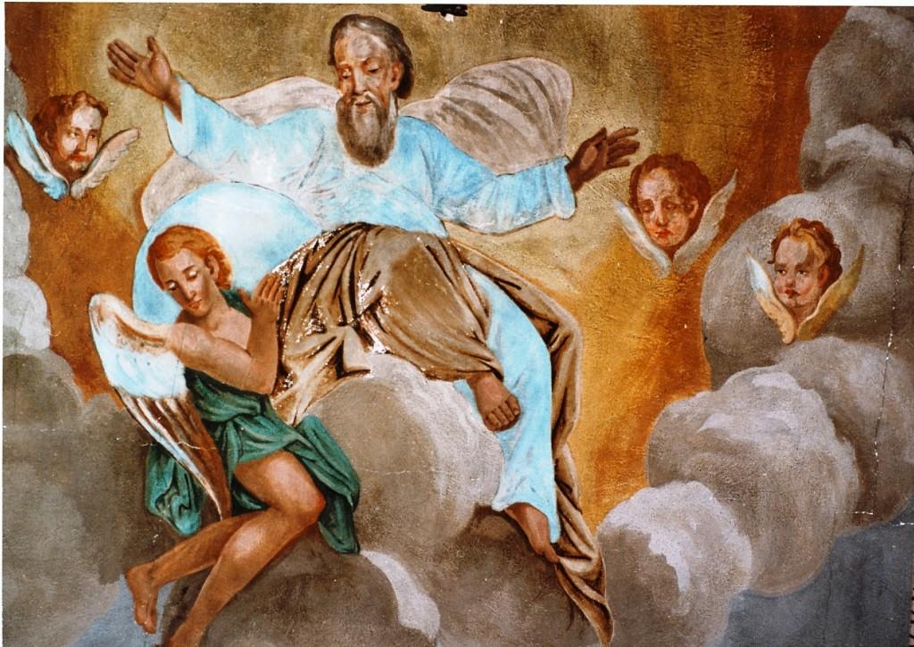 Veli Iž, nekadašnja stropna freska u župnoj crkvi